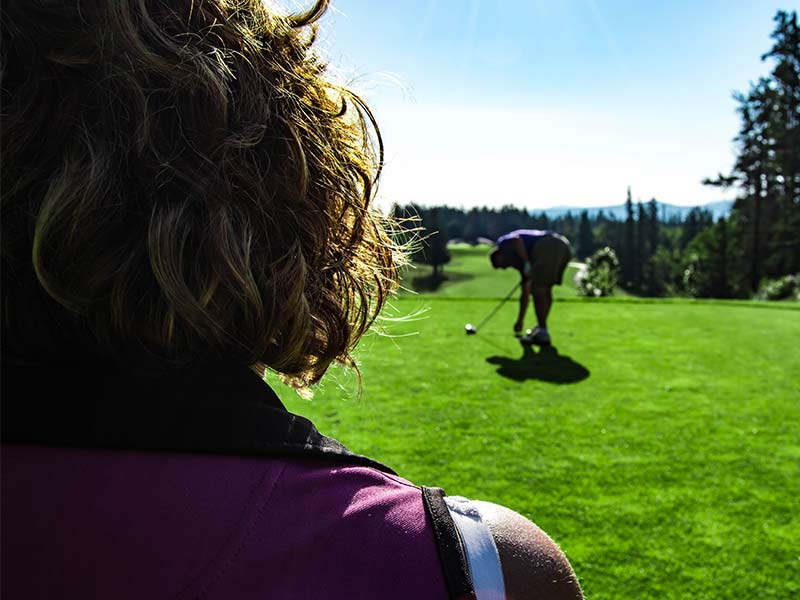 Brewster's Golf, Kananaskis Ranch - Teeing up a drive.