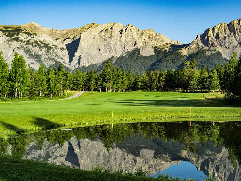 Brewster's Golf, Kananaskis Ranch - Beautiful view of the golf course with ponds and mountain views
