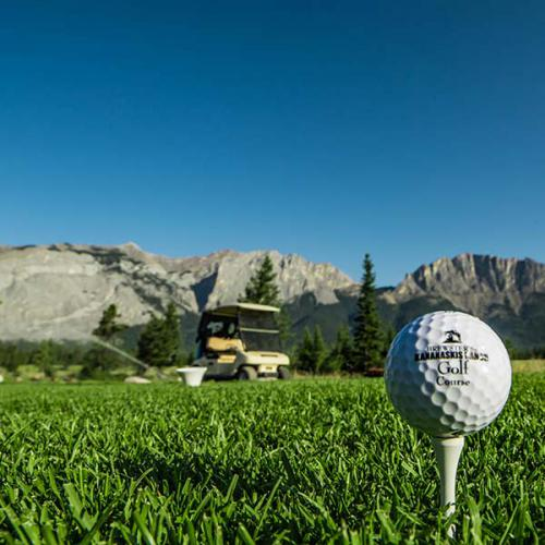 Brewster's Golf, Kananaskis Ranch - A golf ball sitting on a tee.